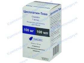 ЦИСПЛАТИН-ТЕВА концентрат для р-ну д/інф., 1 мг/мл по 100 мл у флак. №1