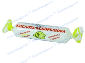 АСКОРБІНОВА К-ТА із цук. табл. 25мг лимон №10*