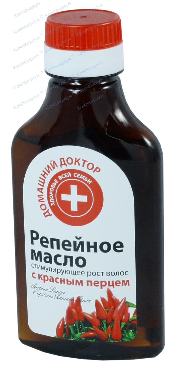 Масло репейное Домашний доктор стимулирующее рост волос 100 мл, с красным перцем
