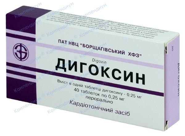 Дигоксин табл. 0,25 мг №40