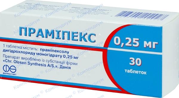 Прамипекс табл. 0,25 мг №30