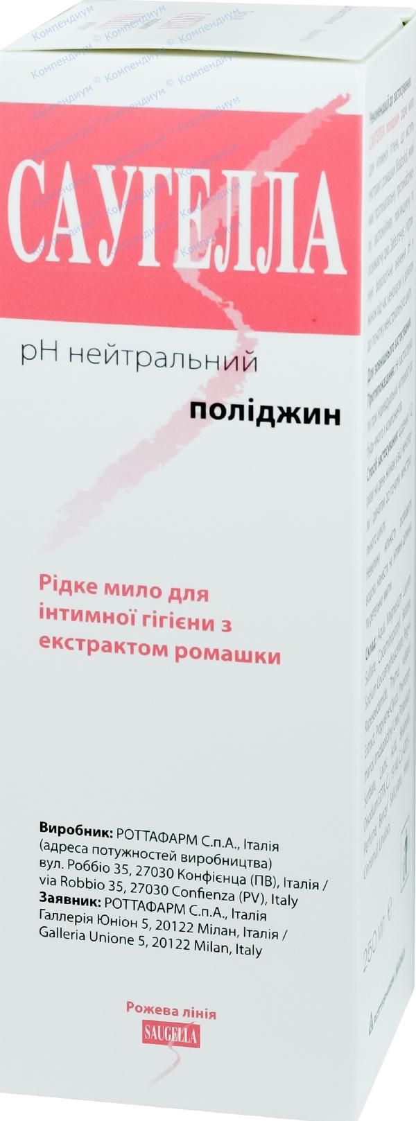 Саугелла полиджин мыло жидкое для интимной гигиены 250 мл