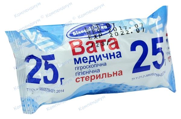 Вата Белоснежка мнд.гигроскопическая гигиеническая  стерильная рулон 25 г
