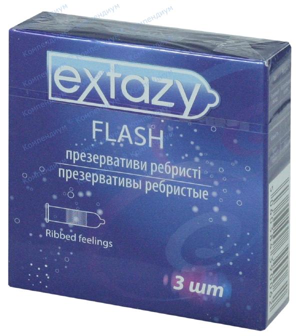 Презервативы Экстази flash, ребристые №3