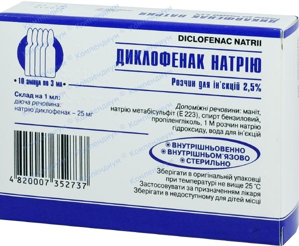 Диклофенак р-р д/ин. 2,5% амп. 3 мл №10