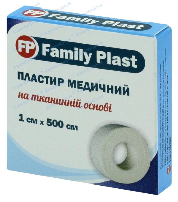 Лейкопластырь бактерицидный Фемили пласт 1 см х 500 см, на тканевой основе