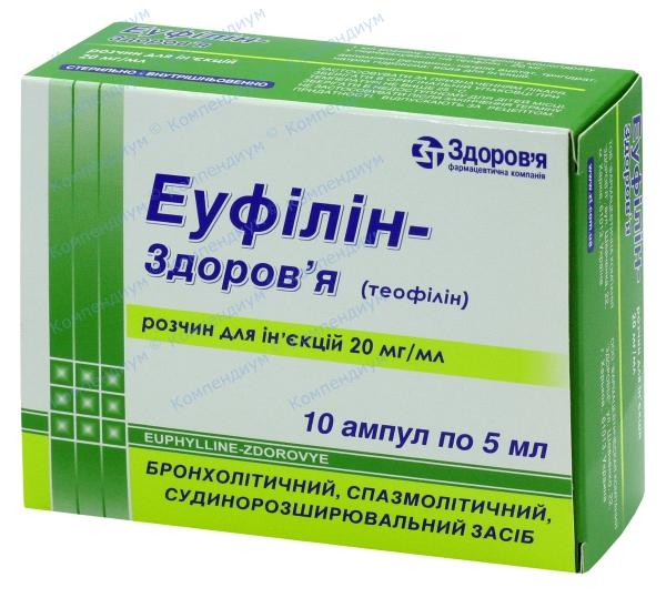 Эуфиллин р-р д/ин. 2% амп. 5 мл №10