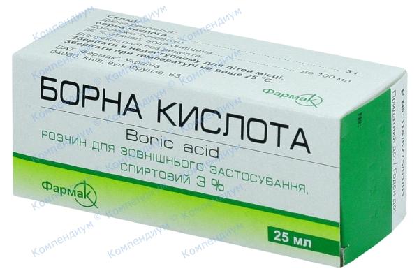 Борная кислота р-р 3% фл. 25 мл