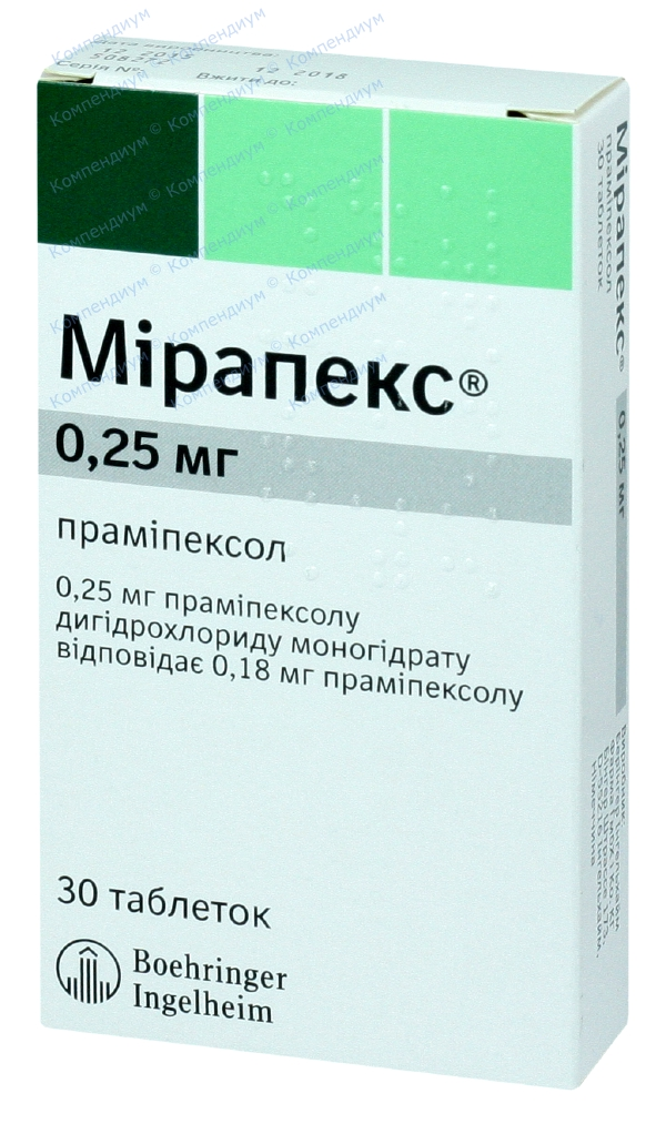 Мирапекс табл. 0,25 мг №30