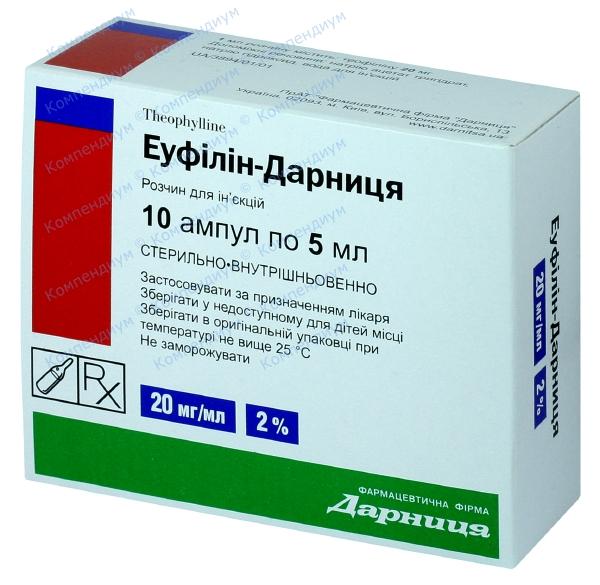 Эуфиллин р-р д/ин. 20 мг/мл амп. 5 мл №10