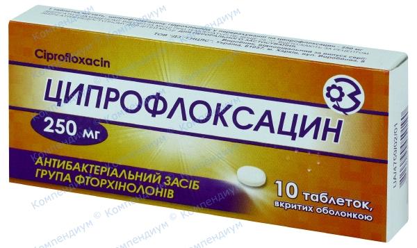 Ципрофлоксацин табл. п/о 250 мг №10