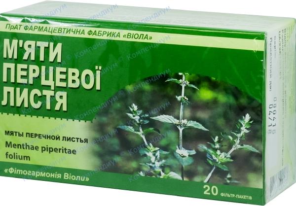 Мяты перечной листья листья 1,5 г фильтр-пакет №20