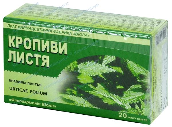 Крапивы листья листья 1,5 г фильтр-пакет №20