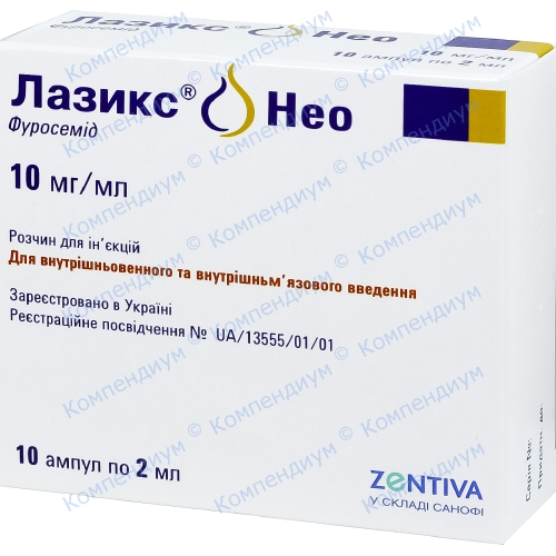 Лазикс Нео р-н д/ін.10мг/мл амп.2мл №10 фото 1, Aptekar.ua