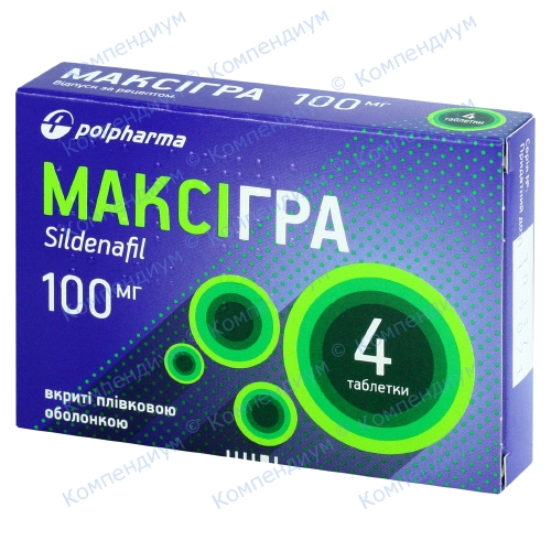 Максігра табл. 100 мг №4 фото 1, Aptekar.ua