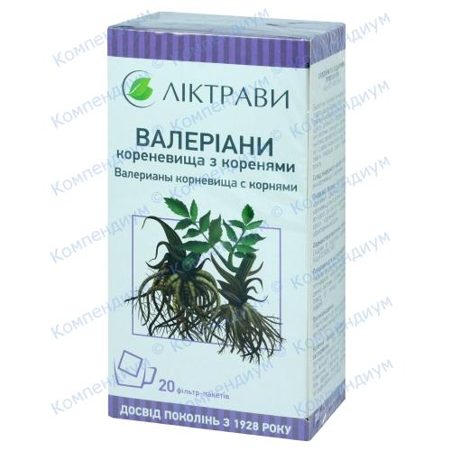 Валеріани корневища з коренями 1,5г пак. №20 фото 1, Aptekar.ua