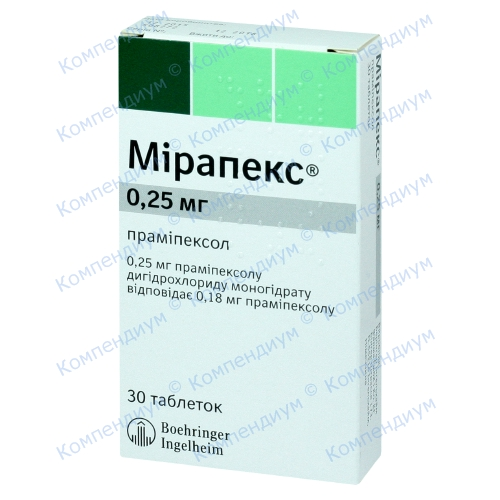 Мірапекс табл. 0,25мг №30 фото 1, Aptekar.ua