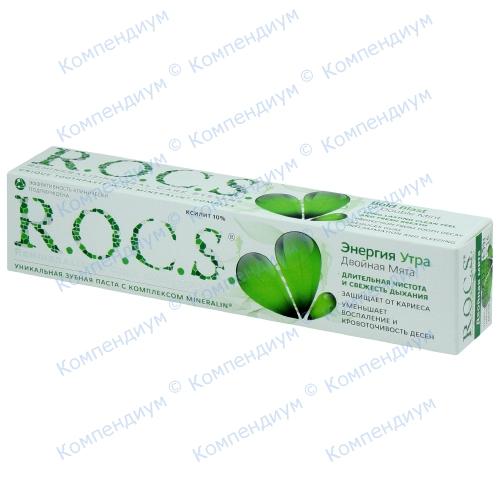 ROCS зубна паста Енергія ранку Подвійна м'ята 74г фото 1, Aptekar.ua